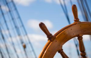 Ship's Wheel on blue